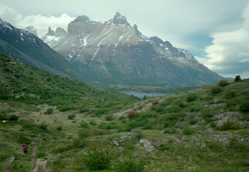 View of Cuernos del Paine; Can you spot Sue's Red Jacket?